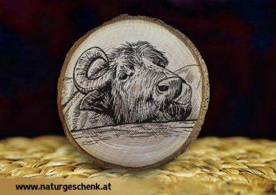 Holzmagnet Büffel