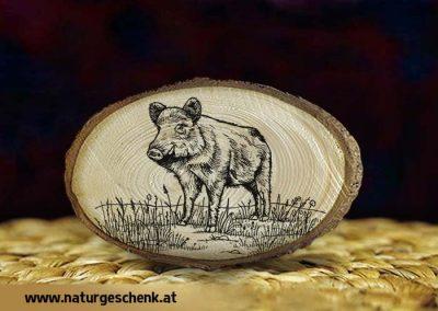 Holzmagnet Wildschwein